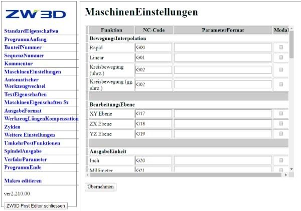 CAD CAM software with postprocessor