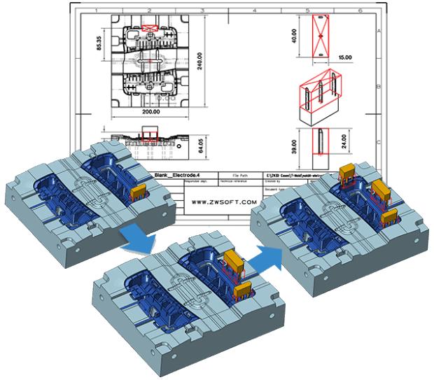 ZW3D Professional Werkzeugbau Elektrodenkonstruktion